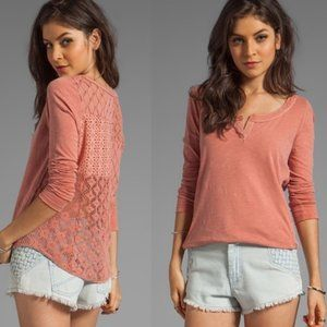 Free People | Patches of Lace Henley Salmon Pink L